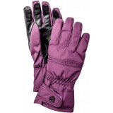 Hestra Primaloft Leather Female 5 Finger handsker, Primaloft Leather Female 5 Finger handsker, Grape/Black