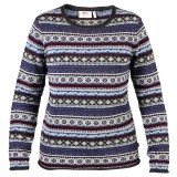 Fjällräven Övik Folk Knit Sweater WMS striktrøje, Övik Folk Knit Sweater WMS striktrøje, Uncle Blue