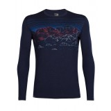 Icebreaker Mens Oasis LS Crewe Sky Night uldbluse, Mens Oasis LS Crewe Sky Night uldbluse, Midnight Navy