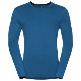 Odlo Shirt l/s crew neck NATURAL 100% MERINO bluse, Shirt l/s crew neck NATURAL 100% MERINO bluse, Mykonos Blue - Black