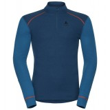 Odlo Shirt l/s turtle neck 1/2 zip WARM trøje, Shirt l/s turtle neck 1/2 zip WARM trøje, Blue Opal - Mykonos Blue